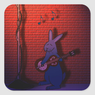 BUNNY SINGS THE BLUES SQUARE STICKER