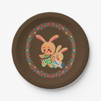 Bunny Sisters 7 Inch Paper Plate