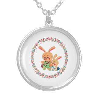 Bunny Sisters Silver Plated Necklace
