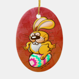 Bunny Sitting on an Easter Egg Ceramic Ornament