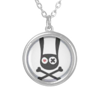 Bunny Skull and Crossbones with Heart and X Eye Silver Plated Necklace