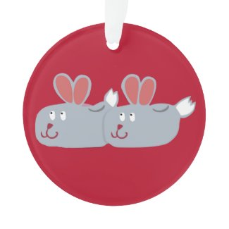 Bunny Slippers Ornament! Ornament