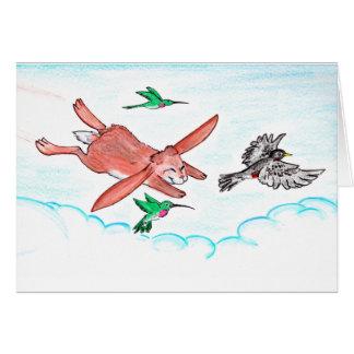 Bunny Soars with Birds notecard