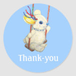 Bunny Swing Swinging Baby Thank-you Sticker