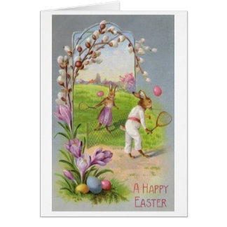 Bunny Tennis Easter Greeting!  Vintage Easter Card