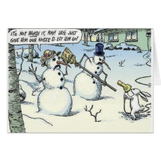 Bunny Threatens Snowman For Nose Greeting Card at Zazzle