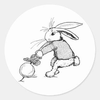 Bunny Tugging on Turnip Classic Round Sticker