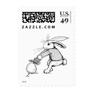 Bunny Tugging on Turnip Stamps
