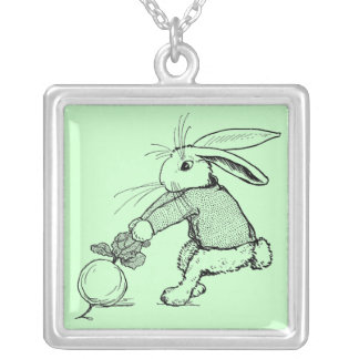 Bunny Tugging on Turnip Silver Plated Necklace