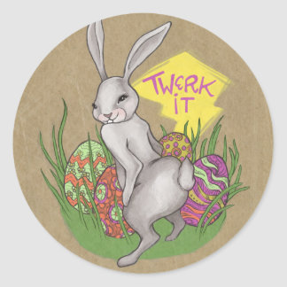 Bunny Twerk Easter Classic Round Sticker