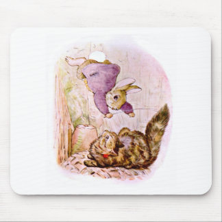 Bunny versus Cat Artwork Mouse Pad