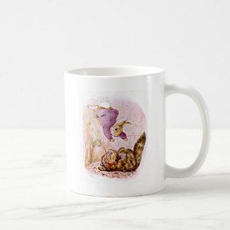 Bunny versus Cat Artwork Classic White Coffee Mug