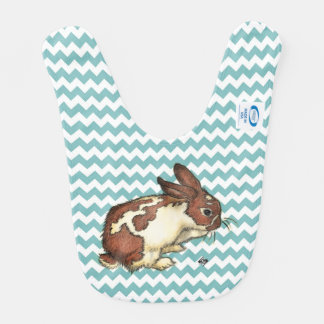 Bunny washing his face with blue chevron baby bib
