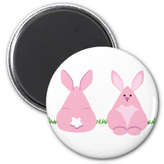 Bunny Watching 2 Inch Round Magnet