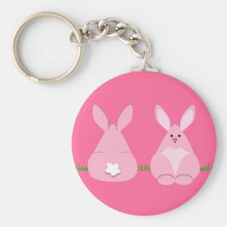 Bunny Watching Basic Round Button Keychain
