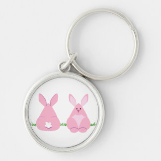 Bunny Watching Silver-Colored Round Keychain