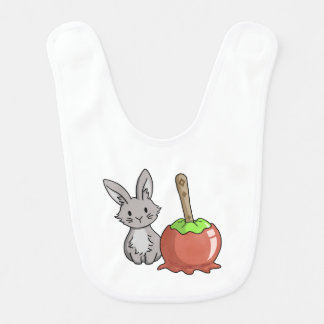Bunny with a candy apple baby bib