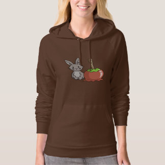 Bunny with a candy apple hooded sweatshirt