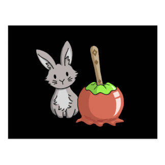 Bunny with a candy apple postcard