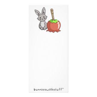 Bunny with a candy apple rack card