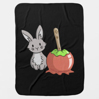 Bunny with a candy apple stroller blanket