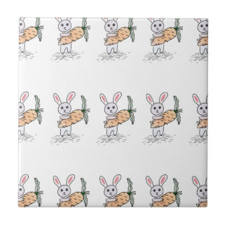 Bunny with a Carrot Tile
