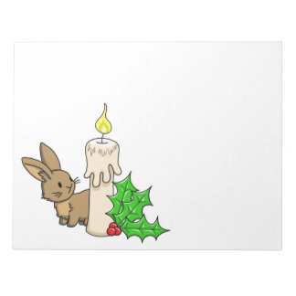 Bunny with a Christmas Candle Notepad