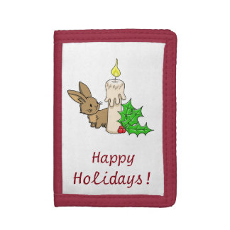 Bunny with a Christmas Candle Tri-fold Wallet