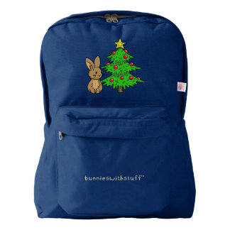 Bunny with a Christmas Tree American Apparel™ Backpack