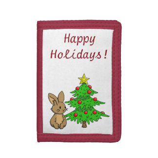Bunny with a Christmas Tree Trifold Wallets