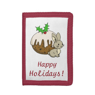 Bunny with a Figgy Pudding Trifold Wallets