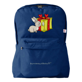 Bunny with  a Holiday Gift American Apparel™ Backpack