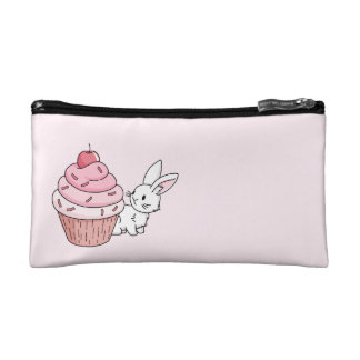 Bunny with a pink cupcake cosmetic bags