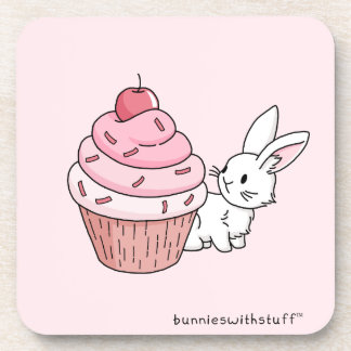 Bunny with a pink cupcake beverage coaster