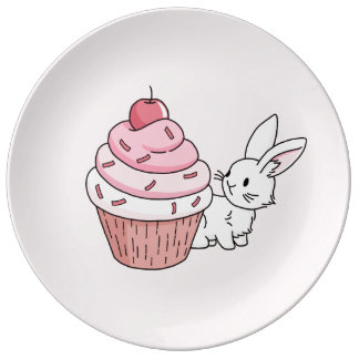 Bunny with a pink cupcake porcelain plates