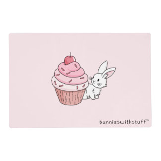 Bunny with a pink cupcake placemat