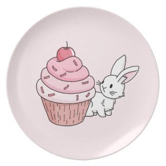 Bunny with a pink cupcake plate