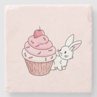 Bunny with a pink cupcake stone coaster