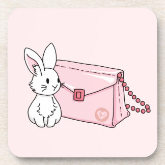 Bunny with a pink purse coaster