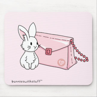 Bunny with a pink purse mouse pad