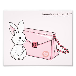 Bunny with a pink purse photo print