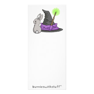 Bunny with a witch's hat rack card