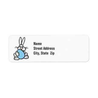 Bunny with Baby Blue Egg Label