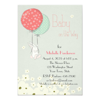 Bunny with Balloons Baby Shower Card