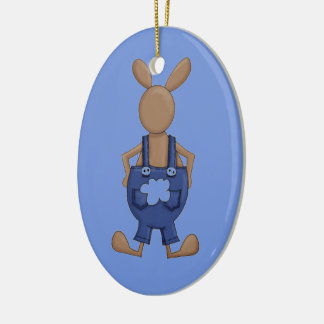 Bunny with Blue Coveralls showing off Tail Ceramic Ornament