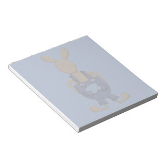 Bunny with Blue Coveralls showing off Tail Note Pad