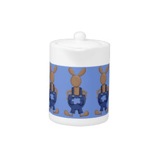 Bunny with Blue Coveralls showing off Tail Teapot