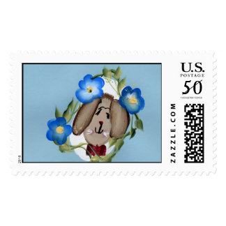 BUNNY WITH BLUE FLOWERS POSTAGE