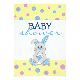 Bunny with Blue Plaid Baby Shower Invitation