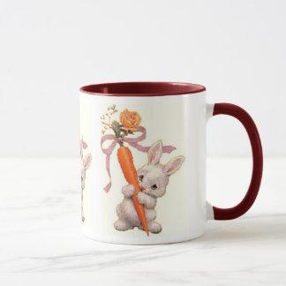 Bunny with Carrot and Rose Mug